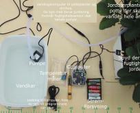Vandingsanlæg til drivhus og potteplanter. Computer med jordfugtighedssensor og temperaturmåler.